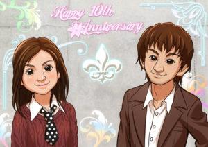 結婚10週年記念似顔絵です。落ち着いたオシャレな雰囲気が出るよう、気合入れて描きました ! !