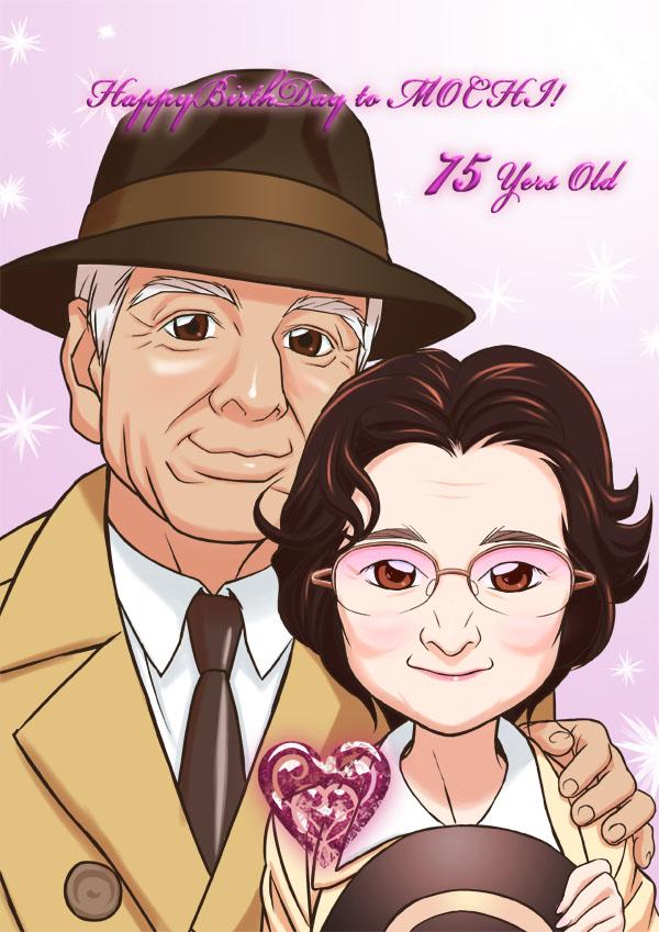 娘さんから、お父様へのプレゼント似顔絵です。映画カサブランカを参考に描かせて頂きました。