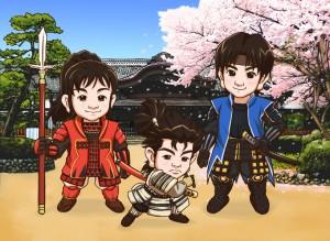三兄弟が桜の下で侍装束、というリクエストで描きました。川越本丸御殿前です。